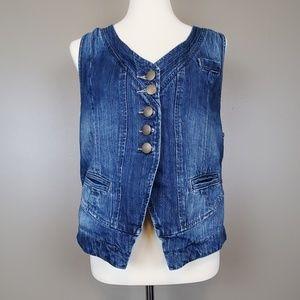 Cabi Jeans Denim Vest with Slash Pockets Size L